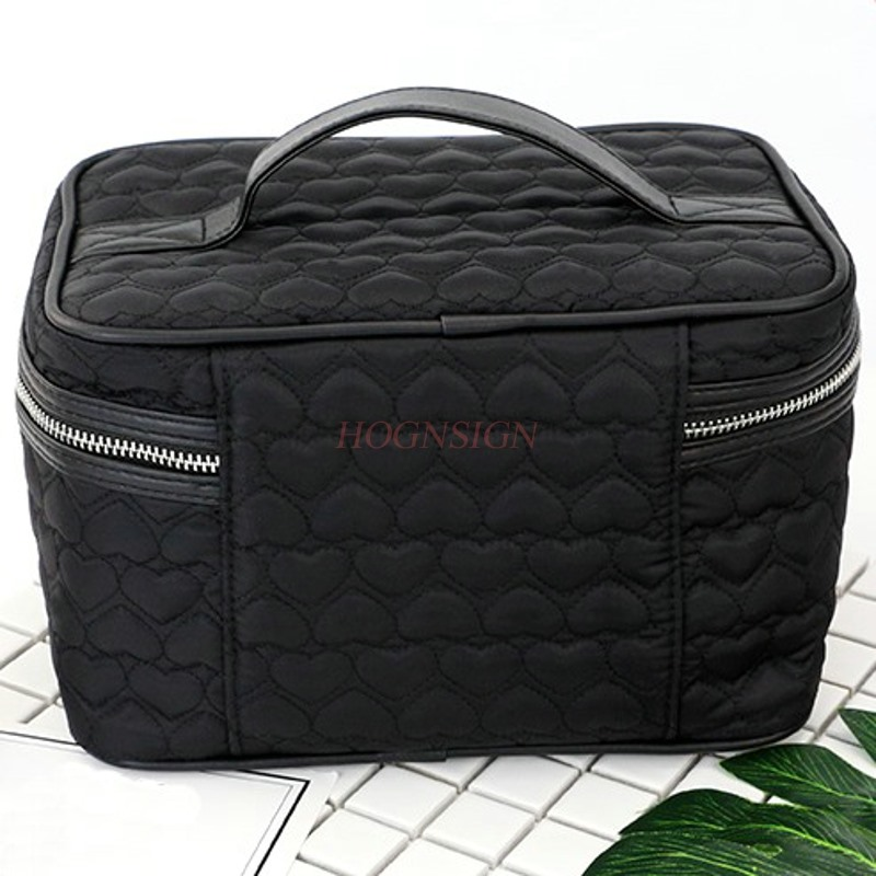 Simple Heart Shaped Portable Cosmetics Case Capacity Waterproof Fabric Storage Large Cosmetic Bag Makeup Pack Make Up Package in Eye Shadow Applicator from Beauty Health