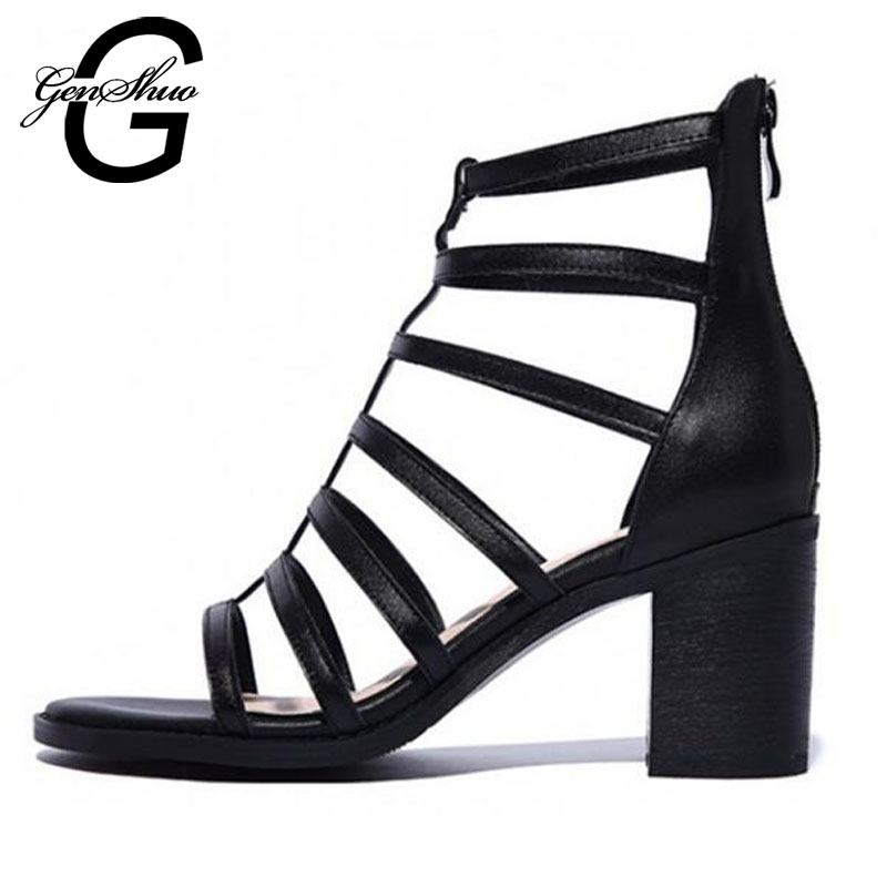 GENSHUO New 2017 Summer Ladies Full Grain Leather Women Gladiator Sandals  Ladies Fashion Chunky Heel Cut-Outs Rome Sandal Shoes free shipping black brown luxury brand full grain leather sandals for women 2015 women s summer sexy cut outs ankle boots