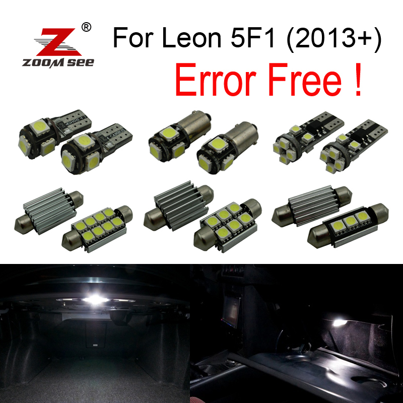 14pc X LED  License plate bulb + Reverse lamp + Interior dome map Lights Kit for Seat for Leon 5F1 (2013 +) car 5630 smd interior map dome trunk light led bulb white led kit package for audi a6 c5 avant 1997 2004