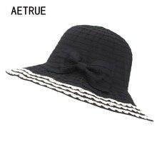 AETRUE Sun sombreros para las mujeres moda grandes ala playa femenino  verano sombreros niñas plegable señoras 130b36b2ce8