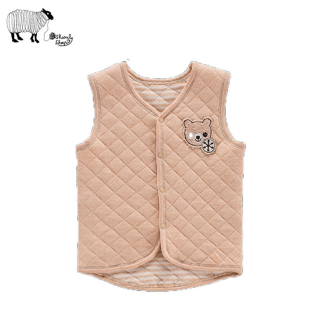 100% de Algodão Orgânico Do Bebê Menina Menino Outono Colete Weste 2016 Moda Unissex Crianças Grosso Casacos Sem Manga Roupas Casacos Outwear