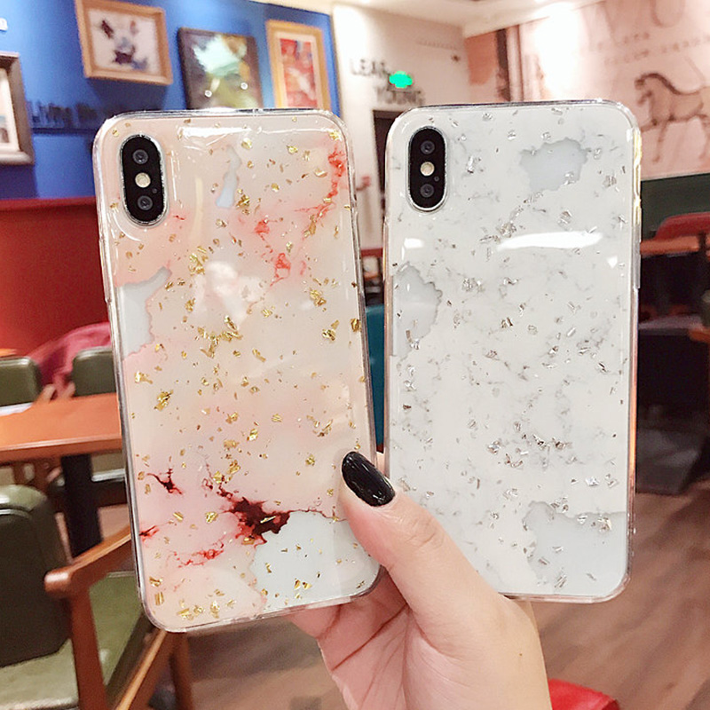 Luxury Gold Foil Bling Marble Phone Cases For iPhone X 10 Cover Hole Soft TPU Cover For iPhone 7 8 6 6s Plus Glitter Case Coque (6)