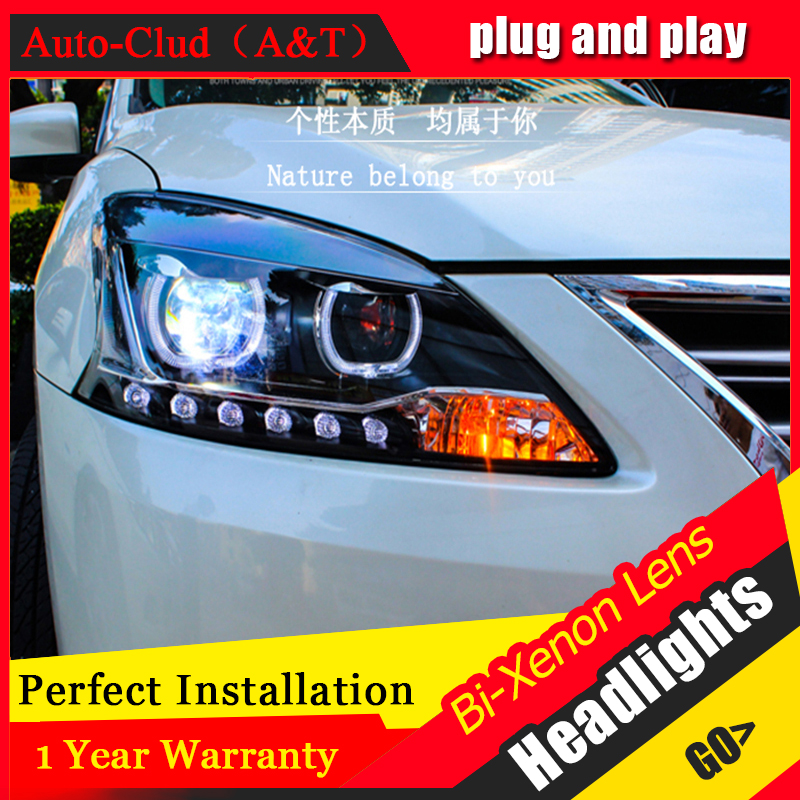 Auto Clud Car Styling for Nissan Sylphy LED Headlight Sentra LED Headlight DRL Lens Double Beam H7 HID Xenon bi xenon lens hireno headlamp for 2004 10 hyundai elantra headlight headlight assembly led drl angel lens double beam hid xenon 2pcs