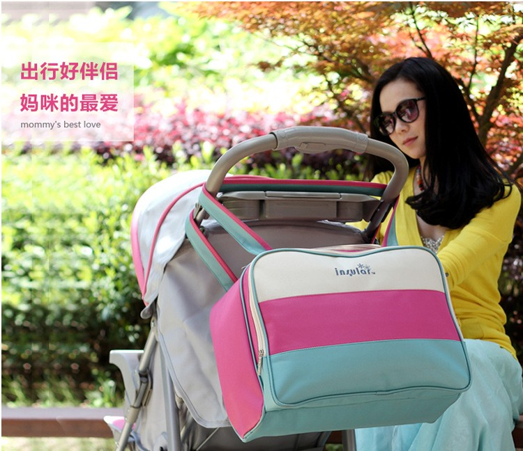 insular Colorful stripe diaper bag multifunctional waterproof baby care nappy mummy bag mother Shoulder Tote stroller bags 1