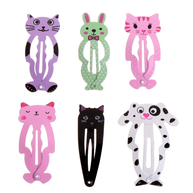 BELLYQUEEN New Girl 6pcs Animal Hairpin Barrettes Hair Clips Hair Accessories  Children Headwear Metal Small Hair Styling Tools купить дешево онлайн