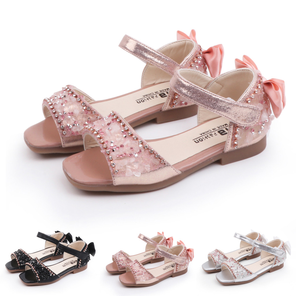 MUQGEW Sandalets Princess Shoes for Girls Crystal Inset Party Dance Sandals Children Bowknot Single Princess Shoes SandalsMUQGEW Sandalets Princess Shoes for Girls Crystal Inset Party Dance Sandals Children Bowknot Single Princess Shoes Sandals