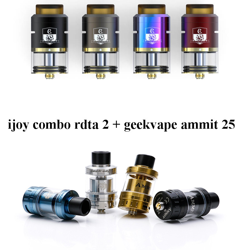 Big sale GeekVape Ammit 25 RTA and ijoy combo RDTA 2 RDTA Enhanced 3D Airflow System Upgrade Ammit RTA Tank for E Cigarette Mod original ijoy combo rdta tank huge vapor electronic cigarette atomizer 25 mm diameter 6 5 ml e liquids capacity pre made coils