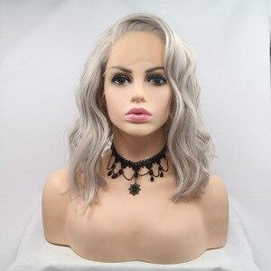 Pelucas Marquesha Bob Cut resistentes al calor de encaje sintético gris plateado corto por delante, pelucas grises de repuesto para mujeres