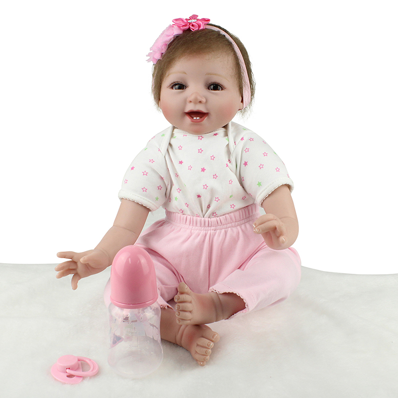 Pink Girl Smile Reborn Dolls Newborn Baby Doll Toy for Girl Lifelike Reborn Babies Play House Toy Birthday Gift Girl Brinquedods sd bjd 1 4 doll toy for kids birthday gift vinyl lifelike animation pricess american girl dolls play house girl brinquedos