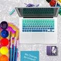 Русские буквы градиент ес / великобритания макет силиконовая наклейки на клавиатуру русские покрова для MacBook Air 13 Pro 13 15 imac 21.5 27 беспроводная клавиатура