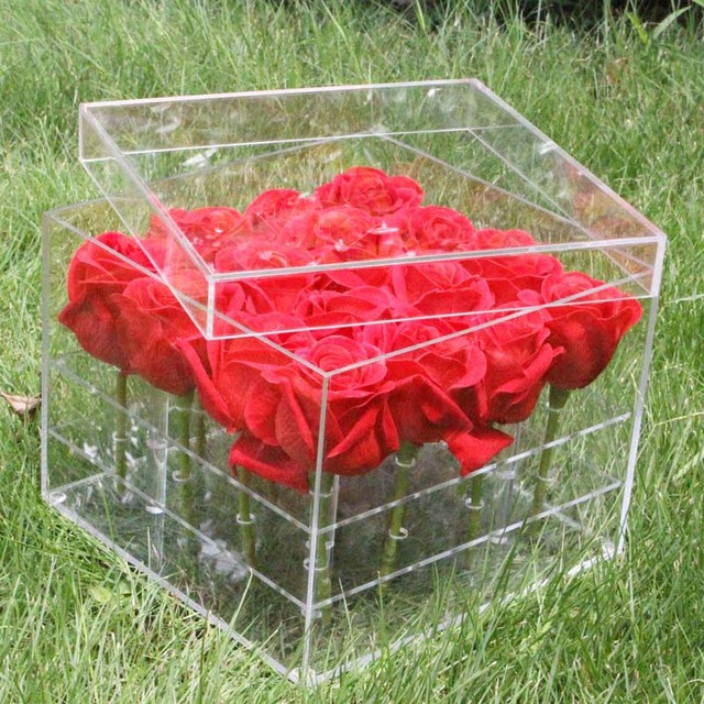 Luxury 16 Holes Clear Plastic Gift Acrylic Rose Flower Box With Lid