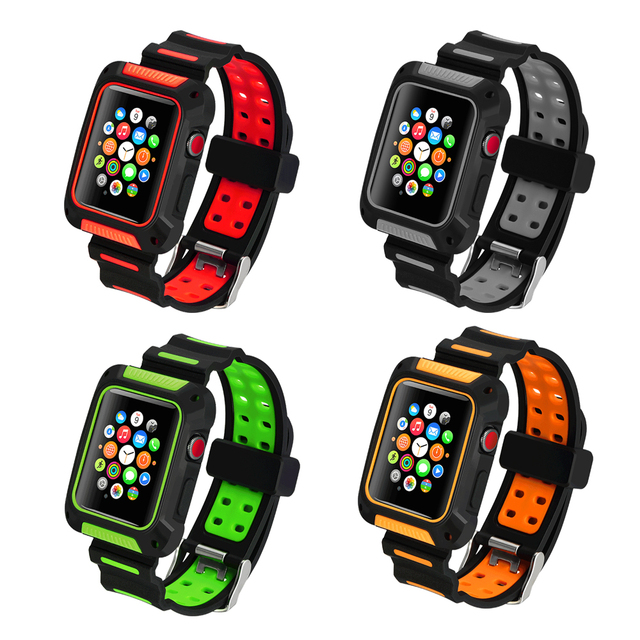 the best attitude 939a7 d655a US $10.01 30% OFF|protective case+strap for apple watch band 42mm 38mm  iwatch series 3/2/1 soft silicone shock resistant cover+ clock watchband-in  ...