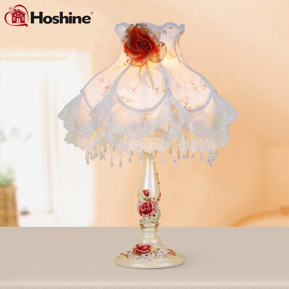Hoshine Brand New Novelty Luxury Table Lamp Romantic Rose Modern Luminaria de Mesa Home Abajur Para Quarto for Living Room 63 rose de mai