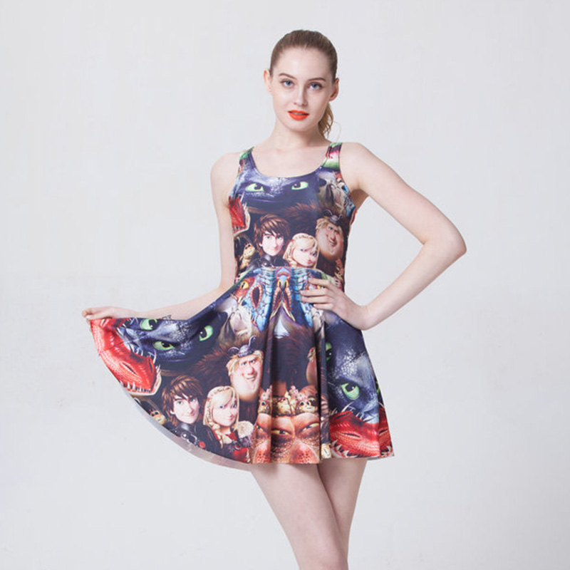 New 1081 sexy girl women summer cartoon how to train your dragon new 1081 sexy girl women summer cartoon how to train your dragon night fury 3d prints reversible sleeveless skater pleated dress ccuart Images