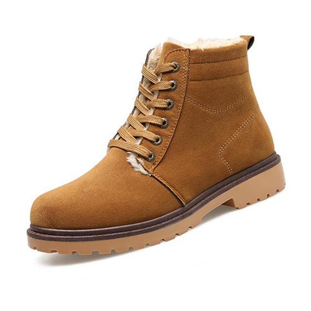 Homens Da Moda Botas de Inverno com Botas Quentes À Prova D' Água Camurça Couro Masculino Martin Sapatos Ankle Boots Marrom X993 35