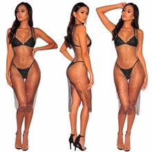 BKLD 2018 See-through Sexy Split Dress Rhinestone Mesh Bodycon Hollow Out  Midi Party Dress aeb406a67b7f