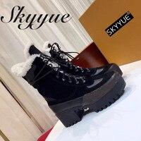 SKYYUE/женские ботинки гладиаторы из натуральной кожи на шнуровке, ботильоны на меху с круглым носком, теплые женские ботинки в байкерском сти