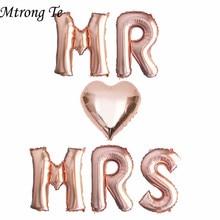 6 قطعة 16 بوصة ارتفع حرف ذهب بالونات السيد MRS القلب احباط بالون الزفاف الذكرى عيد الحب حفلة لوازم الديكور