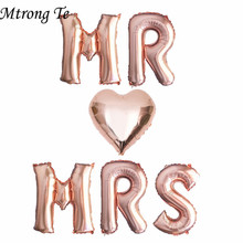 6 pçs 16 Polegada rosa ouro letra balões mr mrs coração balão aniversário de casamento dia dos namorados festa decoração suprimentos