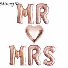 6pcs 16Inch רוז זהב מכתב בלוני MR MRS לב רדיד בלון חתונה נישואים האהבה יום המפלגה קישוט ספקי