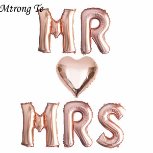 Image 1 - 6pcs 16inch rose gold letter balloons MR MRS heart foil balloon Wedding anniversary Valentines day party decoration supplies