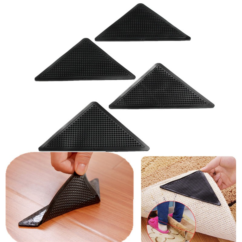 4pcs/Set Reusable Washable Rug Carpet Mat Grippers Non Slip Silicone Grip For Home Bath Living Room cowboy lanterns super soft non slip bath door mat machine washable