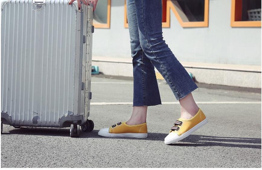 Chaussures Sur Mocassins Ballerines 2018 À Glissent Respirant Toile La Faible Noir Appartements L94 Casual or Profonde Mode Femmes Bouche blanc Peu dqAB0d