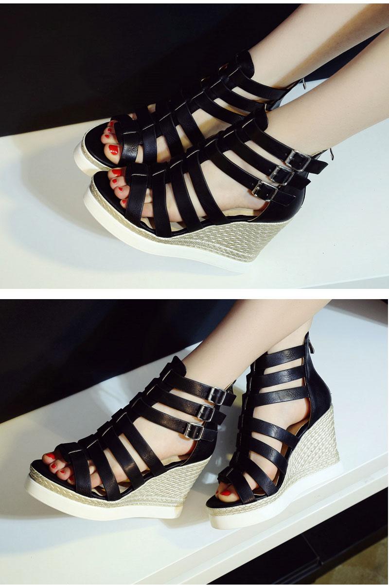 Gladiator Shoes, Women's Platform Wedges, High Heel Sandals, Rome Ladies Wedge Heels 9