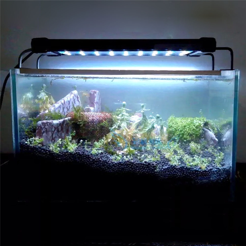 Original SMD Aquarium <font><b>LED</b></font> <font><b>Lighting</b></font> Fish Tank Lamp 50-68cm/28-46cm Extendable Frame White & Blue <font><b>LED</b></font> for Aquarium EU/US/UK Plug