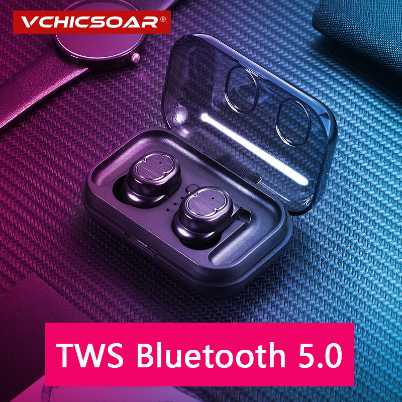 Vchicsoar <font><b>T9</b></font> <font><b>TWS</b></font> Bluetooth Headphones Wireless Earphones Stereo Bluetooth 5.0 Binaural Call Headset Earbuds with Mic for iPhone image