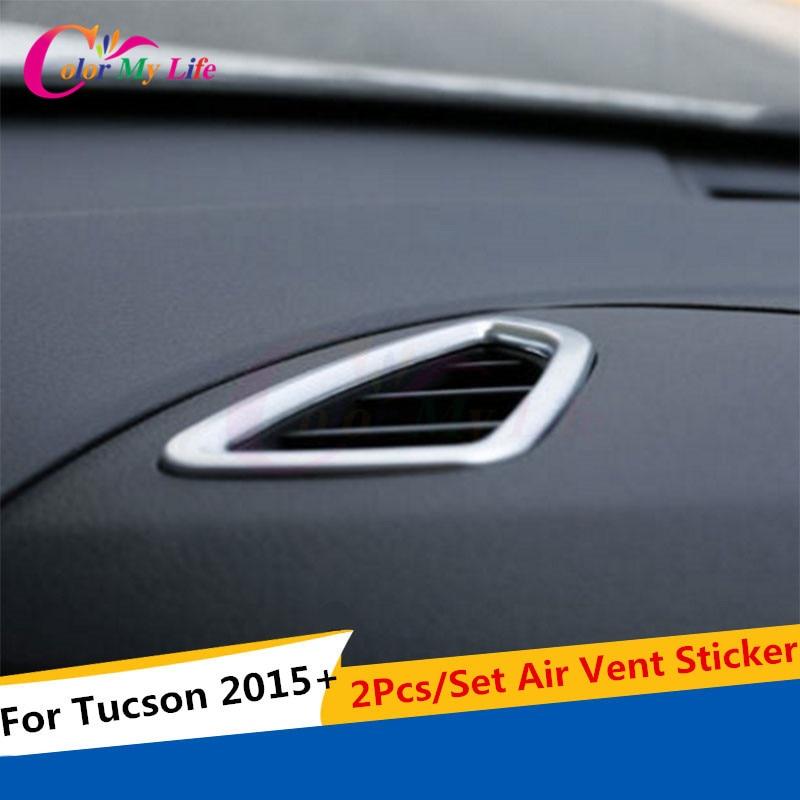 2шт / комплект автомобіля повітря вентиляційні прикраси обробкою наклейки кондиціонування повітря кришка для Hyundai Tucson 2015 2016 аксесуари для автомобілів