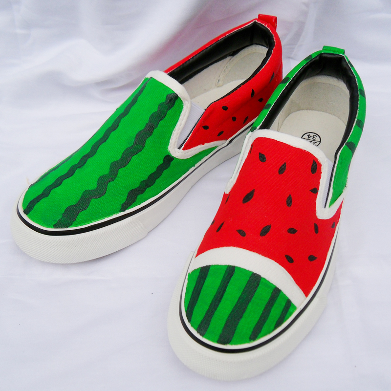 New Wholesale Retail Women 39 s Casual Low Shoes Watermelon Summer Autumn Girl 39 s Boy Fashion Canvas Down Hand Painted Cartoon Shoes in Women 39 s Flats from Shoes