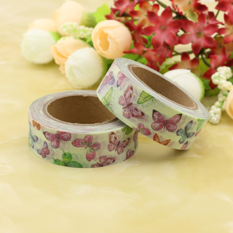 1pcs Washi Masking Tapes Butterfly Feather Cat Decorative Adhesive Scrapbooking DIY Paper Japanese Stickers Size 1.5cm*10m