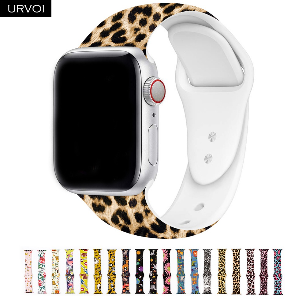 URVOI Sport Band For Apple Watch Series 54 3 2 1 Graffiti Painting Silicone Strap For IWatch Colorful Adapter Flamingo Leopard