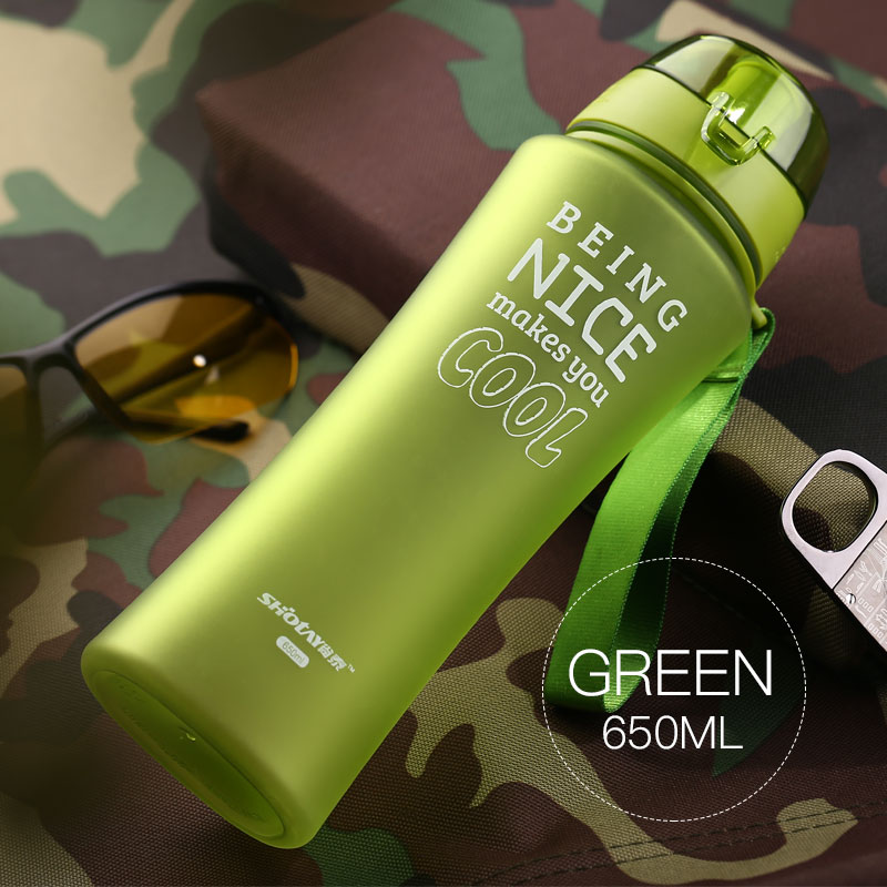 NEW 650ML Sports Water Bottle BPA Free with Rope Unbreakable Plastic My Water Flask Bike Cycling Drink bottle For Water Fruit