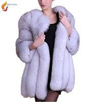 Зимние Роскошные из искусственного лисьего Мех животных пальто тонкий средней длины толстый искусственный Меховая куртка осень Для женщин...