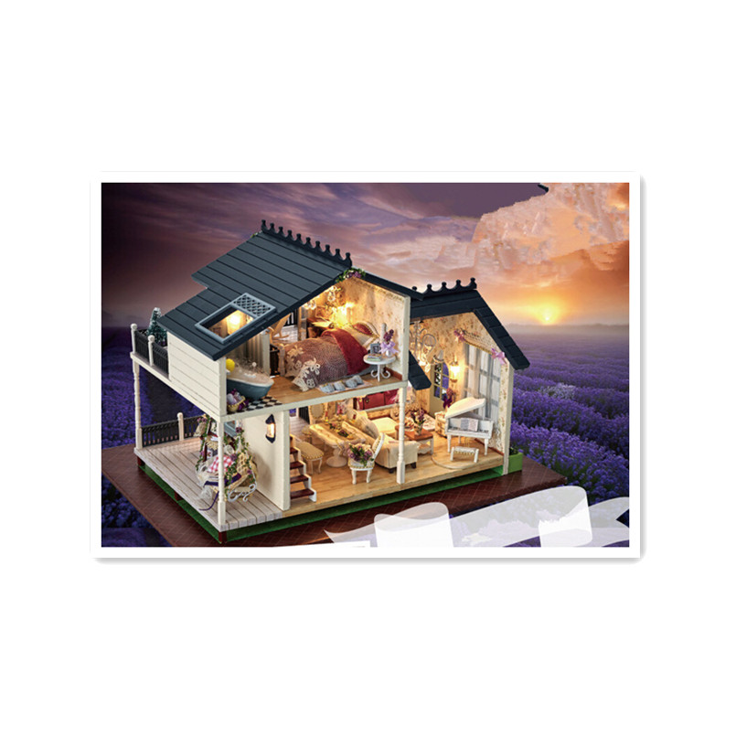 DIY Kit Wooden Doll House Model Building Kit Assembling Toys for Kids,New Style PROVENCE Miniature Dollhouse Toy Birthday Gift 53np 074 primary