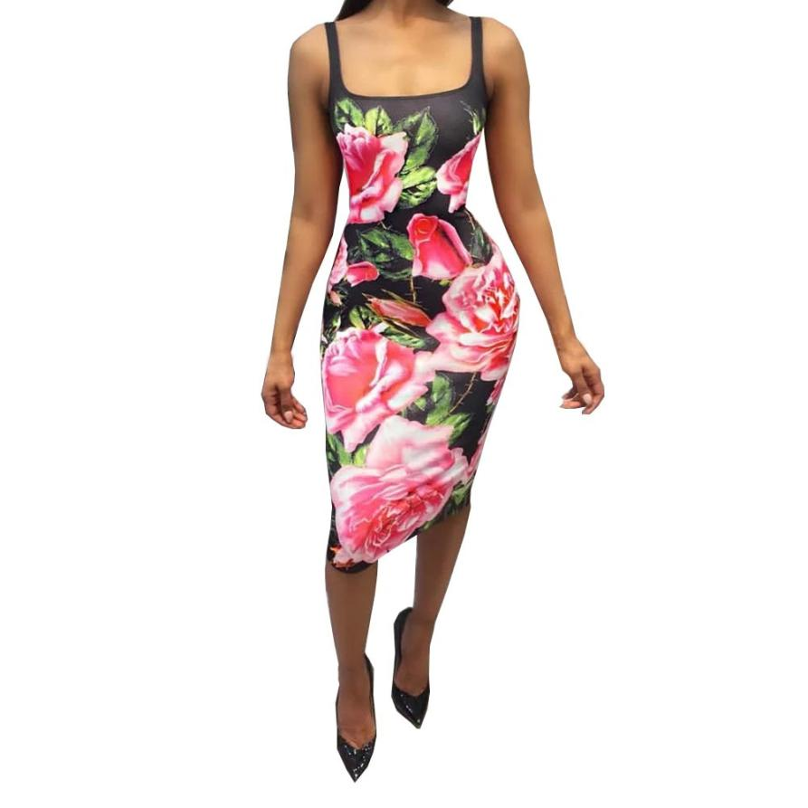 snowshine YLI Women Sexy Print Floral Dress Sleeveless Skinny Elastic Evening Party Dress free shipping