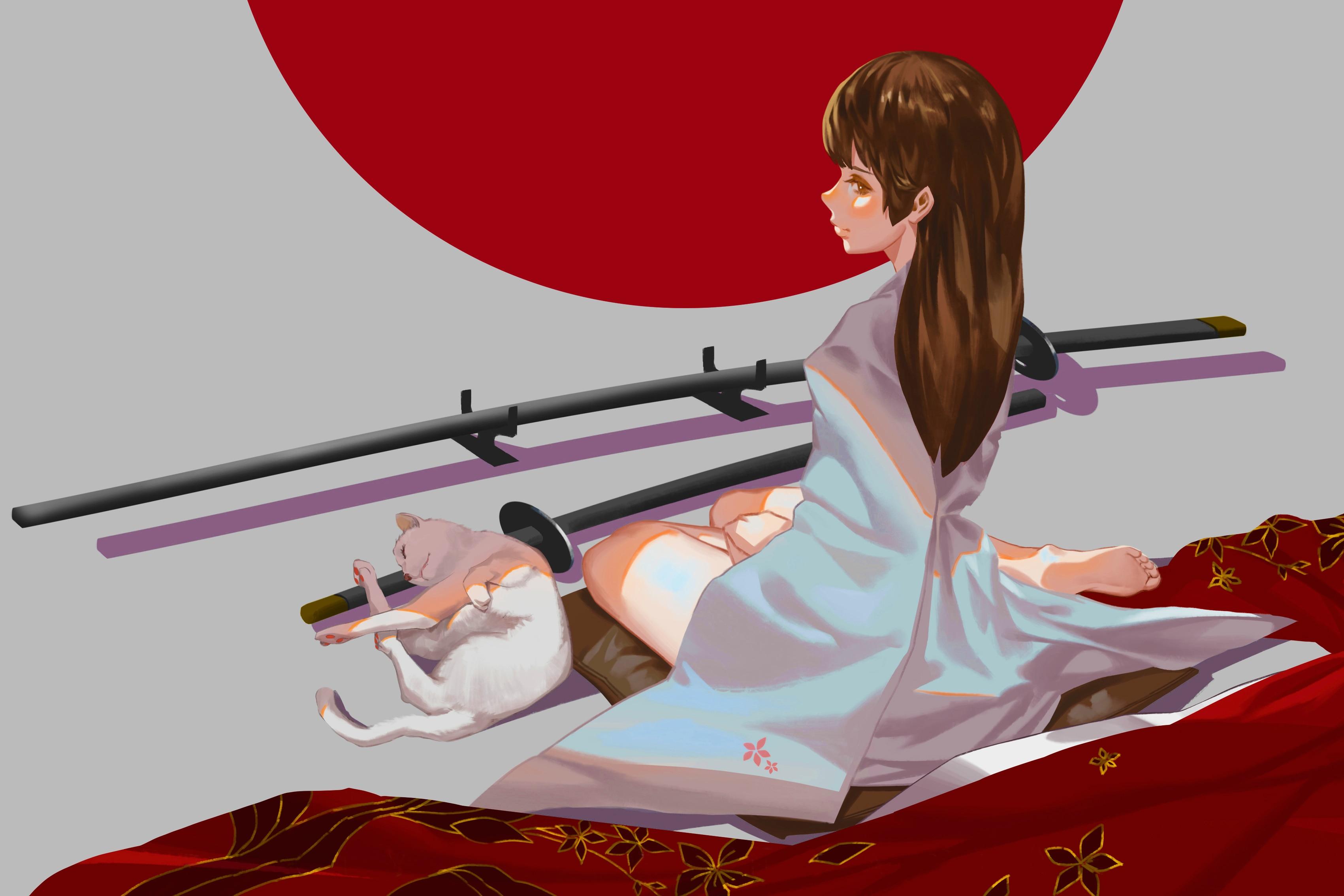 D coration de la maison chat fille katana art kimono assis - Impression sur tissu maison ...