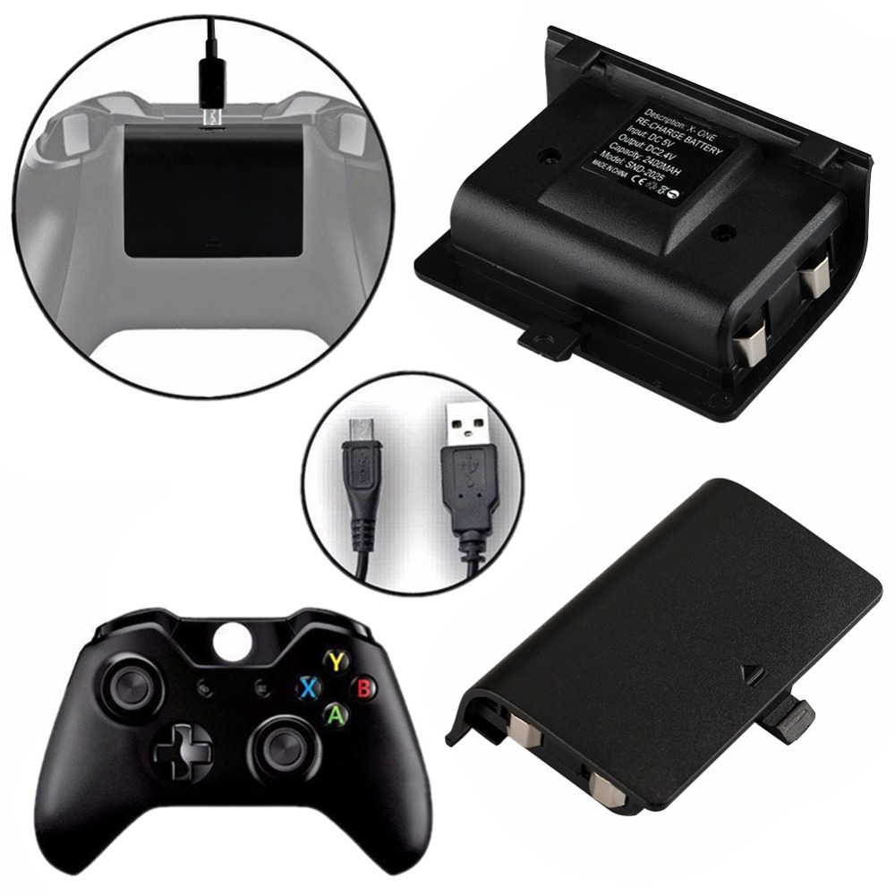2 x 2400mAh Batteries + USB Cable For XBOX ONE Controller Charging Kit Wireless Gamepad Joypad Rechargeable Backup Battery Pack image