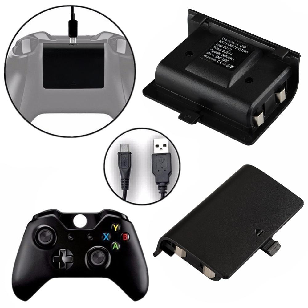 2x2400 mAh Batteries + câble USB pour Kit de charge de contrôleur XBOX ONE manette sans fil Joypad batterie de secours Rechargeable