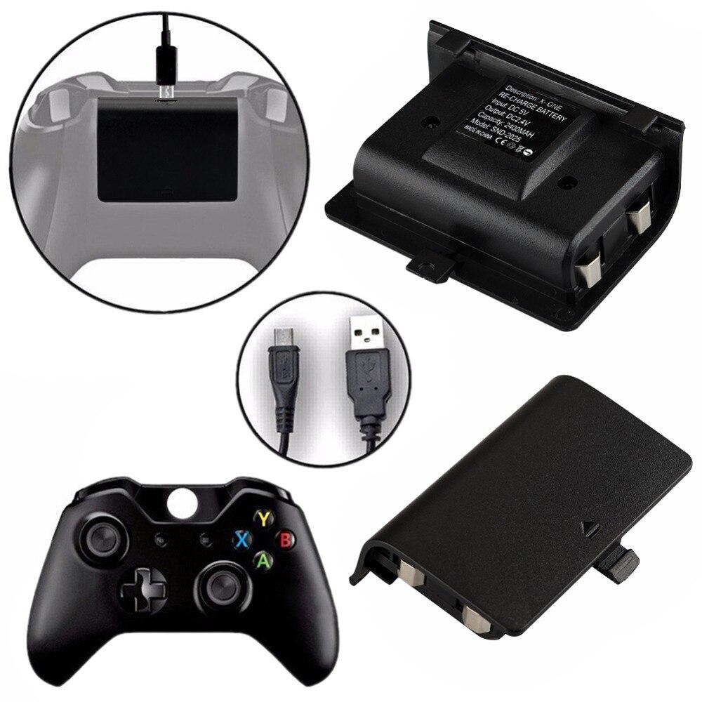2x2400 mah baterias + cabo usb para xbox um controlador kit de carregamento sem fio gamepad joypad bateria de backup recarregável