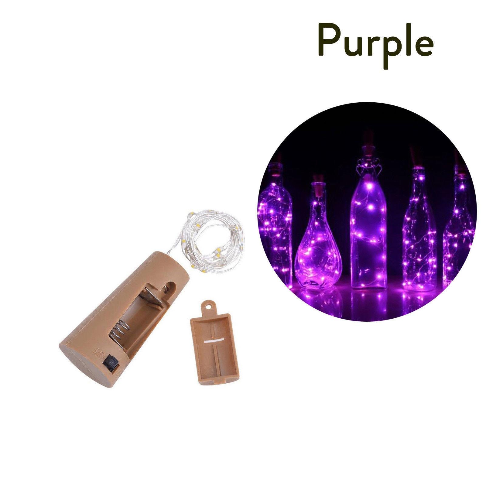 10 20 30 светодиодный s пробковый светодиодный светильник, медная проволока, праздничный уличный Сказочный светильник s для рождественской вечеринки, свадебного украшения - Испускаемый цвет: Фиолетовый