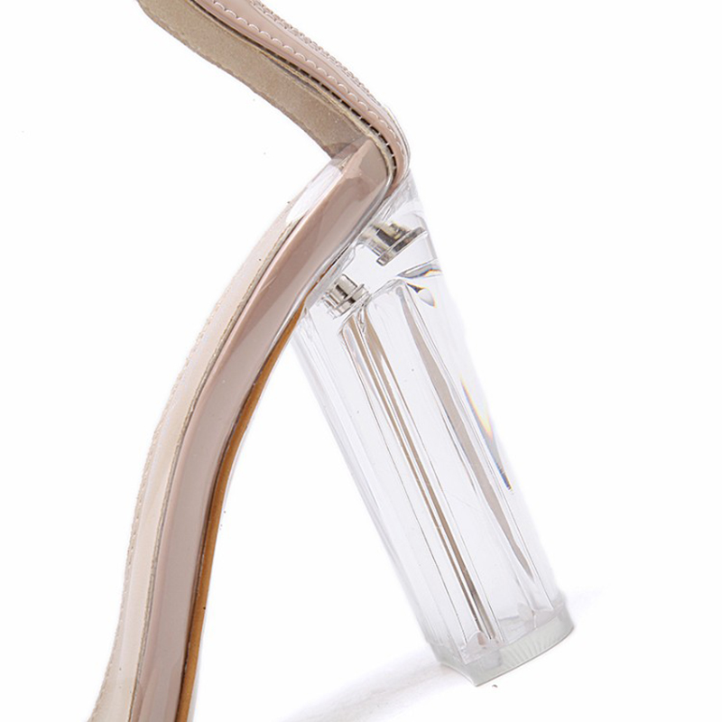 Gladiateur Bottes Chaussures Femmes Toe D'été transparent2 Enmayla Peep Femme Transparent1 Talons Style Hauts Zipper Pour Transparent Bottines ZuOXPik