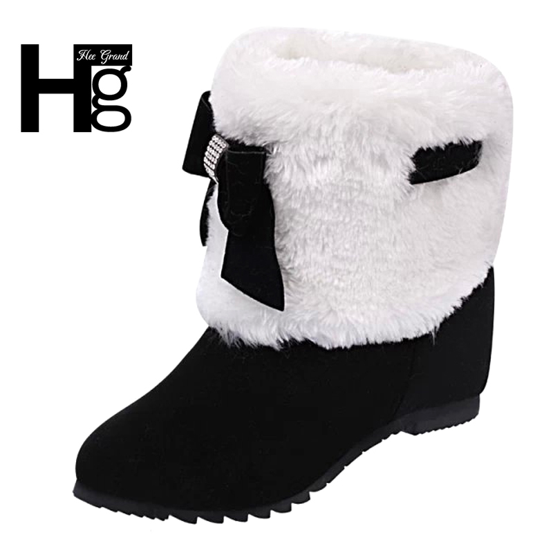 HEE GRAND Young Women Winter Fashion Ankel Boots Black 3 Color Snow Boot Faux Fur Shoes Teenager Ladies Plush Heel Boots XWX6423