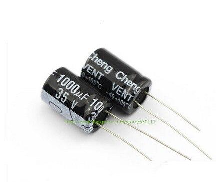 100 pièces 1000 uF 35 V 105C Condensateur Électrolytique Radial 13*21mm
