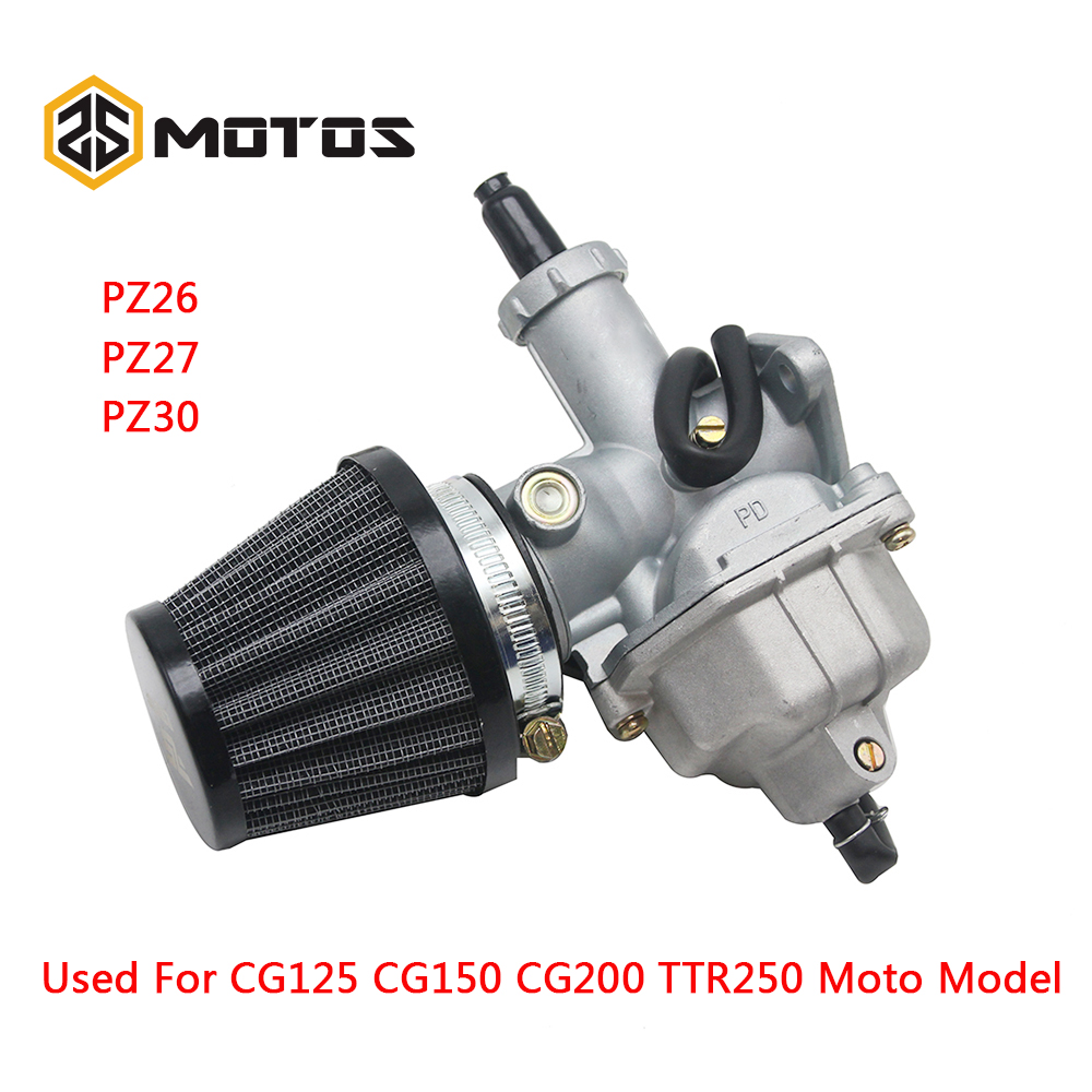 ZS MOTOS New PZ26 PZ27 PZ30 Motorcycle Carburetor Carburador Used For Honda CG125 And Other Model Motorbike with air filter image