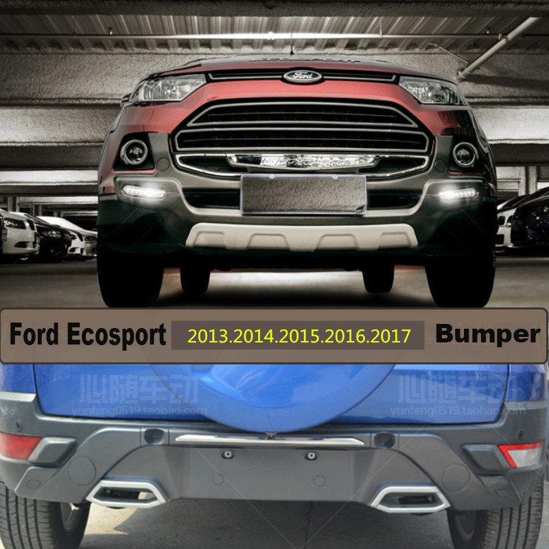 Auto BUMPER GUARD For Ford Ecosport 2013.2014.2015.2016.2017 BUMPER Plate High Quality ABS LED Light Front+Rear Car Accessories