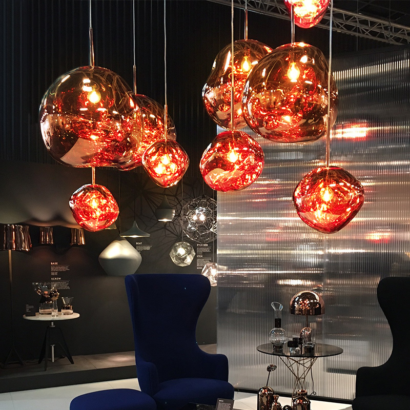 D30/40CM Tom DIXON Melt Pendant Lights Glass Lava Irregular Silver Gold Copper Mirror Hang Lamp for Living Room Lig