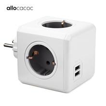 Allocacoc powercube розетка с usb удлинитель электрический пробка розетки заглушки для переходник розеток силовой куб силовая полоса мультирозеточный удлинитель ЕС электрическая 16A 2.1A Домашнее использование зарядка